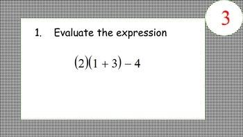 Algebra Review before beginning Geometry