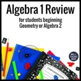 Algebra Review for Geometry