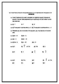 Algebra Revision Worksheet - Covers multiple areas of algebra