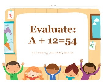 Algebra Rotation Activity with Distributive, Exponents, Basic Algebra, w/answers