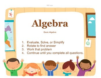 Algebra Rotation Activity with Distributive, Exponents, Basic Algebra, w/answers