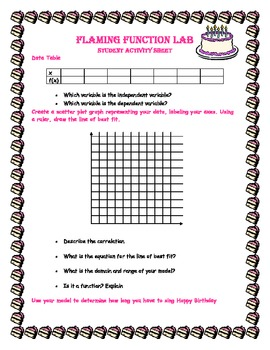Algebra Scatter Plot and Linear Model Flaming Function Lesson Plan and Lab