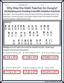 Algebra:  Scientific Notation - Multiplying/Dividing  Riddle Worksheet