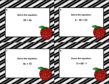 Algebra Scoot-Solving Equations Using All 4 Operations