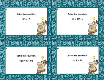 Algebra Scoot-Solving Equations Using All 4 Operations-Caveman Theme