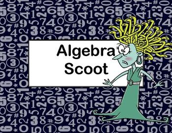 Algebra Scoot-Solving Equations Using All 4 Operations-Med