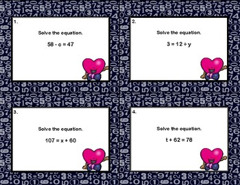 Algebra Scoot-Solving Equations Using All 4 Operations-Valentine's Day