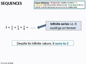 Algebra: Sequences 10 - Sum of Infinite Series (A-Level) + resources