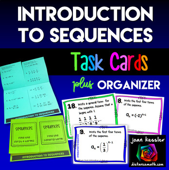Algebra Sequences Introduction Task Cards plus Foldable