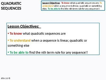 Algebra: Sequences 3 - Quadratic Sequences (+ worksheet)