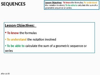 Algebra: Sequences 8 - Geometric Sequences or Series (A-Level) + worksheet
