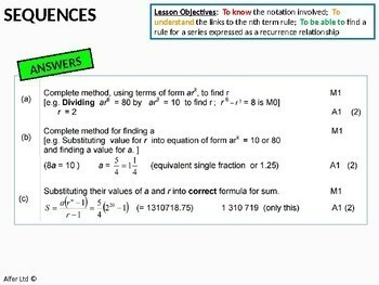 Algebra: Sequences 9 - Sum of Geometric series (A-Level) + worksheet