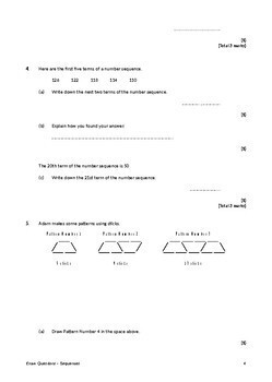 Sequences (nth term rule) Exam Questions (with Answers)