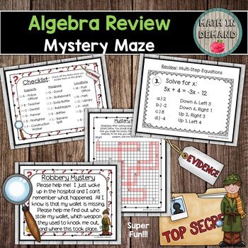 Algebra Short Review Group Activity (Math Stations)
