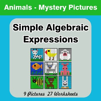 Algebra: Simple Algebraic Expressions - Animals Math Mystery Pictures
