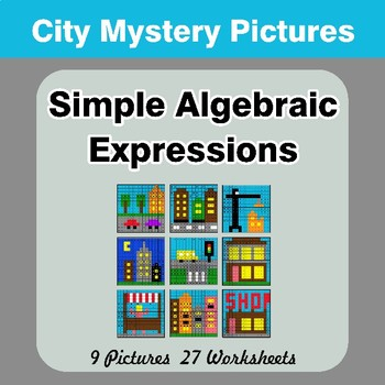 Algebra: Simple Algebraic Expressions - City Math Mystery Pictures