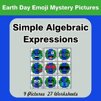 Algebra: Simple Algebraic Expressions - Earth Day Emoji Math Mystery Pictures