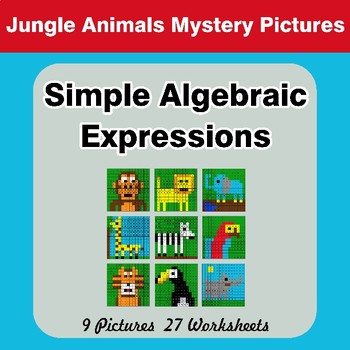 Algebra: Simple Algebraic Expressions - Jungle Animals Math Mystery Pictures