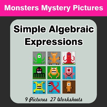 Algebra: Simple Algebraic Expressions - Monsters Math Mystery Pictures