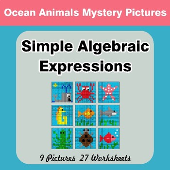 Algebra: Simple Algebraic Expressions - Ocean Animals Math Mystery Pictures