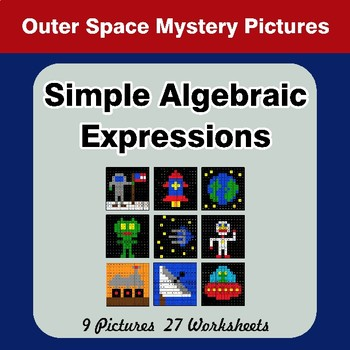 Algebra: Simple Algebraic Expressions - Outer Space Math Mystery Pictures