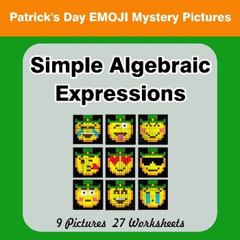 Algebra: Simple Algebraic Expressions - St. Patrick's Day Emoji Mystery Pictures