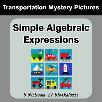 Algebra: Simple Algebraic Expressions - Transportation Math Mystery Pictures