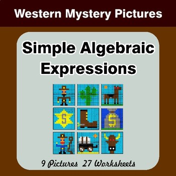 Algebra: Simple Algebraic Expressions - Western Math Mystery Pictures