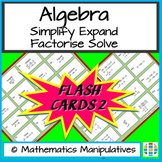 Algebra Simplify Expand Factorise Solve Flash Cards 2