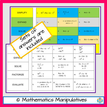 Algebra Simplify Expand Solve Factorise Evaluate Instructional Terms Match-Up 2