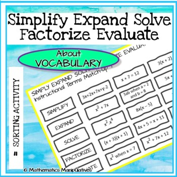 Algebra Simplify Expand Solve Factorise Evaluate Instructional Terms Match-Up 1