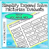 Algebra Simplify Expand Solve Factorise Evaluate Instructi