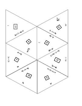Algebra Simplify Like terms Matching Game