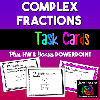 Algebra Simplifying Complex Fractions Task Cards  PowerPoi