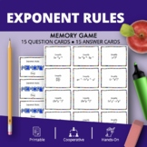 Algebra Simplifying Exponents Math Memory Game