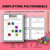 Algebra: Simplifying Polynomials Math Bingo Review Game