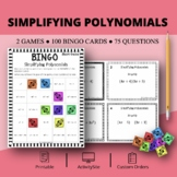 Algebra: Simplifying Polynomials #1 Math Bingo Review Game