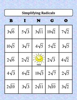 Algebra: Simplifying Radicals BINGO Game