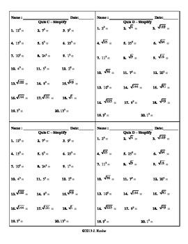 Algebra – Simplifying Radicals (Quiz, Bell Ringer, Do Now, Exit Ticket)