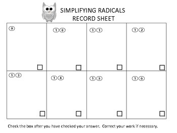 Algebra Simplifying Radicals Task Cards with QR Codes