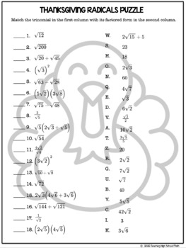 Thanksgiving Algebra Simplifying Radicals Puzzle