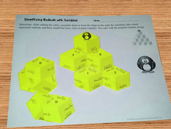 Algebra Simplifying Radicals with Variables Puzzle plus Homework