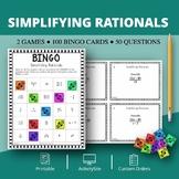 Algebra: Simplifying Rationals Math Bingo Review Game