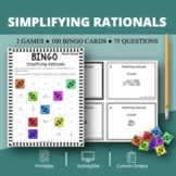 Algebra: Simplifying Rational Expressions Math Bingo Review Game
