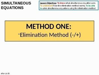 Algebra: Simultaneous Equations 1 - Elimination (subtraction) Method