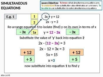 Algebra: Simultaneous Equations 2 - Substitution method (inc. new GCSE spec)