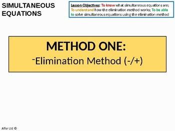 Algebra: Simultaneous Equations BUNDLE - 3 different methods (3 lessons)