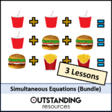 Algebra: Simultaneous Equations BUNDLE - 3 different metho