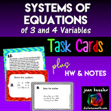 Systems of Equations with 3 Variables Task Cards HW Calculator Handout