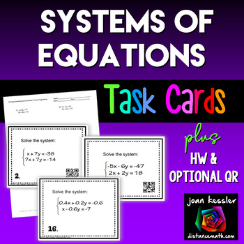 Algebra Systems of Equations Task Cards plus Worksheet